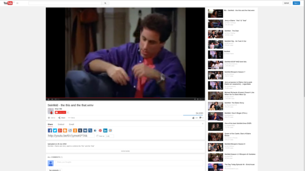 Seinfeld clip on TouTube screenshot