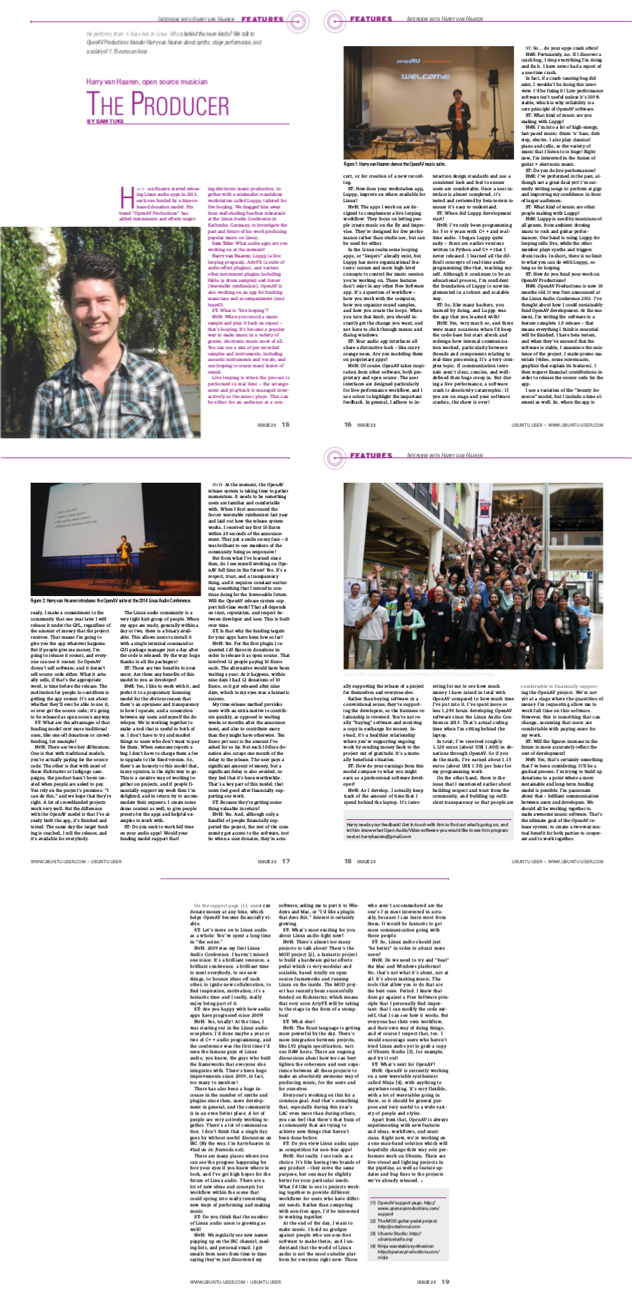 5 page Ubuntu User article by Sam Tuke