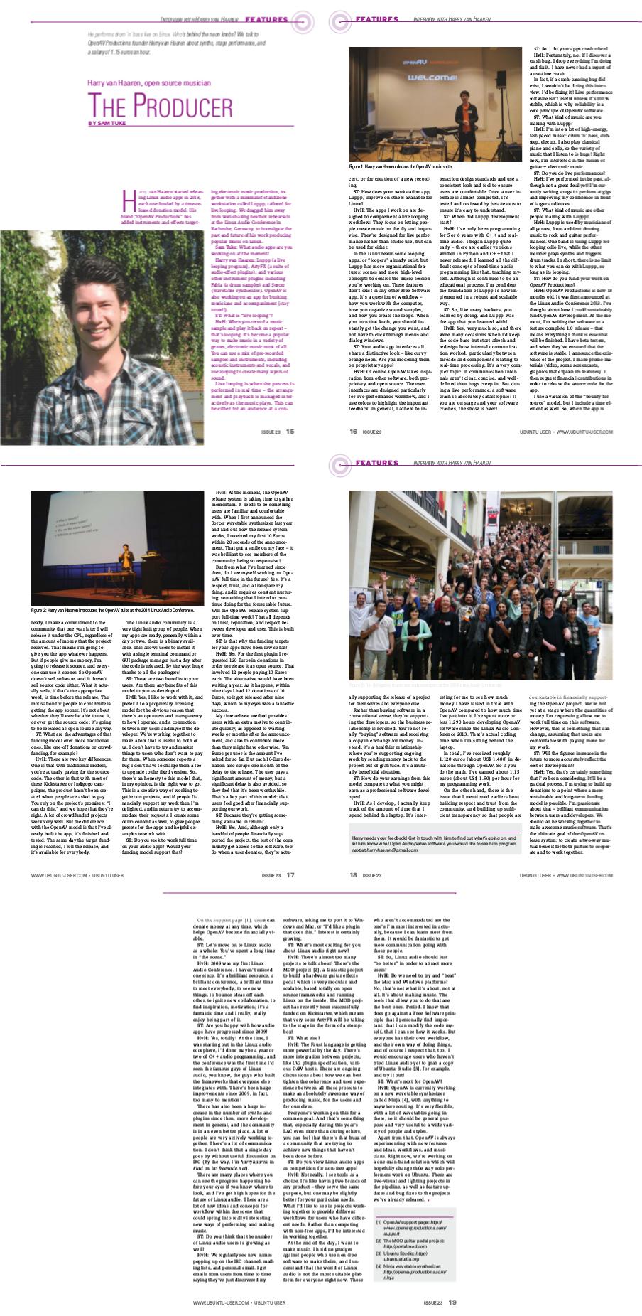 5 page Ubuntu User article by Sam Tuke