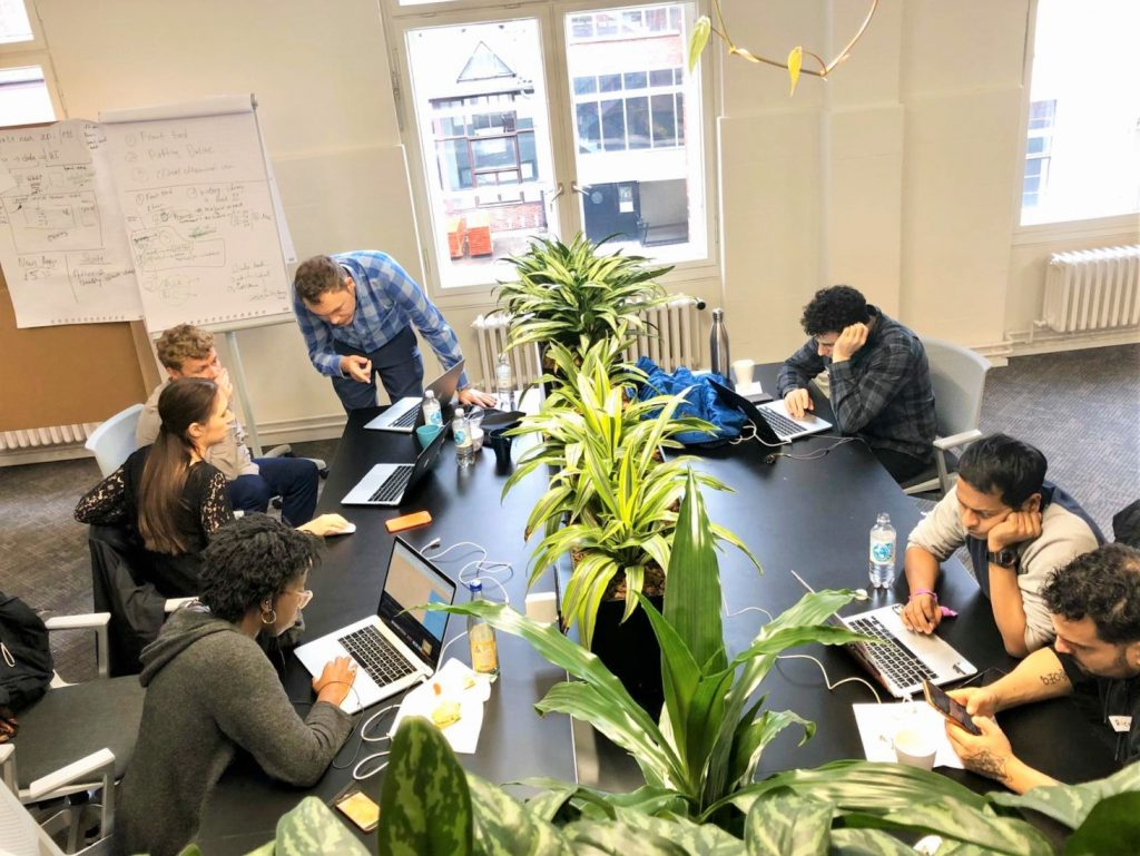 yale collabathon hackathon berlin team at work with sam tuke mentoring